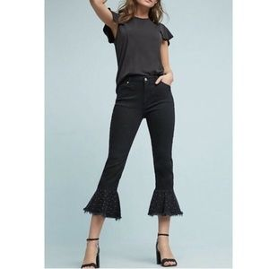 Pilcro Kick Flare Studded Ruffle Crop Jeans